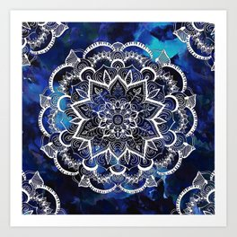 Queen Starring of Mandalas Navy Art Print