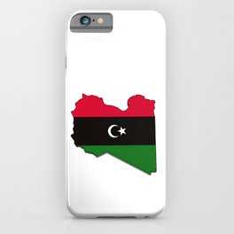 Libya Map with Libyan Flag iPhone Case