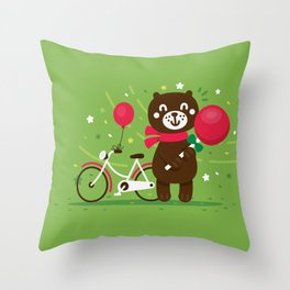 Sweet Bear with Giant Lollipop Throw Pillow