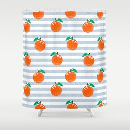 Orange fruit pattern with stripes fun pattern for boys or girls room Shower Curtain