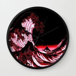 The Great Wave : Red & Black  Wall Clock