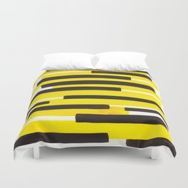 Yellow Primitive Stripes Mid Century Modern Minimalist Watercolor Gouache Painting Colorful Stripes Duvet Cover