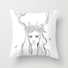 The Girl with Antlers Throw Pillow