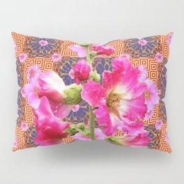 Fuchsia Purple Holly Hocks Pattern Grey Flora Art Pillow Sham