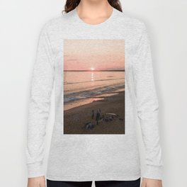 tranche sur mer france aerial drone shot sunset crew surf water Long Sleeve T-shirt