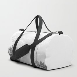 PNW Pacific Northwest Compass - Black and White Forest Duffle Bag
