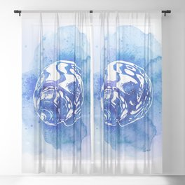 Blue Abstract Watercolor Seashell Rubber Stamp on White 4 Minimalist Coastal Art Sheer Curtain