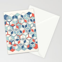 Soft Red, White & Blue Hexagon Pattern Play Stationery Cards