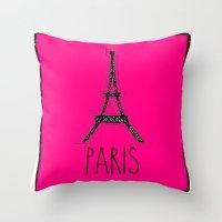 eiffel Throw Pillows featuring Eiffel by Vintage Fox
