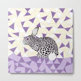 Cute Purple Pastel Rabbit Leopard Pattern Design Metal Print