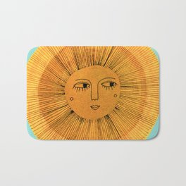 Sun Drawing Gold and Blue Bath Mat