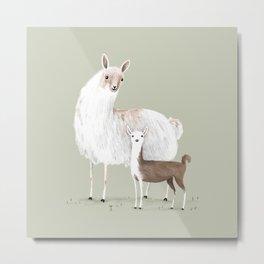 Llama Mama Metal Print