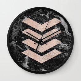 Black marble & rose gold chevrons Wall Clock