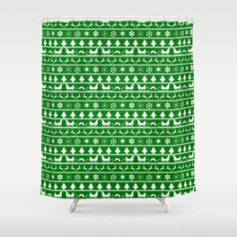 Green & White Nordic Ugly Sweater Christmas Pattern Shower Curtain