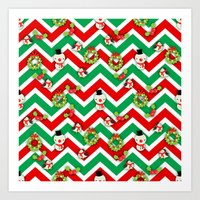 cartoons Art Prints featuring Festive Christmas Cartoons on Chevron Pattern by Kirsten Star