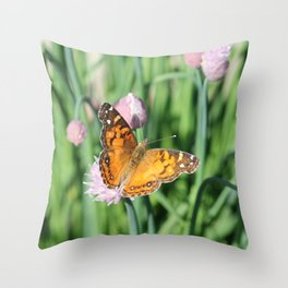 Orange Butterfly on Chives Throw Pillow