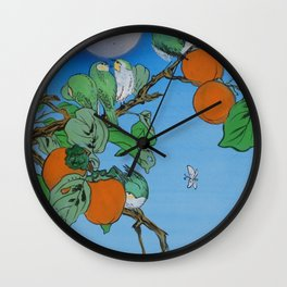 Persimmon branch moon and birds Japan Hieroglyph original artwork in japanese style J099  painting w Wall Clock