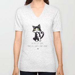 La vie est dure, mais les chats sont doux — Félix Unisex V-Neck