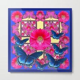 CERISE PINK & BLUE BUTTERFLIES FLORAL ART Metal Print