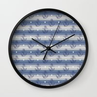 anchors Wall Clocks featuring Anchors by Vickn