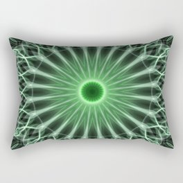 Detailed mandala in warm and cold green tones Rectangular Pillow
