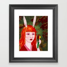 Rabbit Girl in Spring Framed Art Print