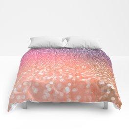 Rose Gold Peach Glitter Blush Comforters