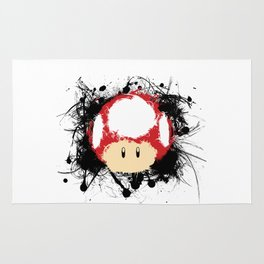 Abstract Paint Splatter Super Mushroom Rug