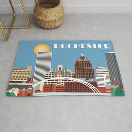 Rochester, New York - Skyline Illustration by Loose Petals Rug