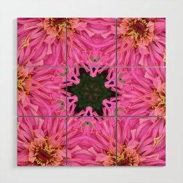 Pink Zinnia Kaleidoscope Mandala Wood Wall Art