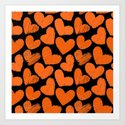Sketchy hearts in orange and black by silvianna