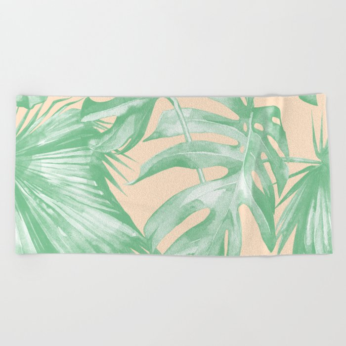 Tropical Leaves Palm Green on Citrus Beach Towel