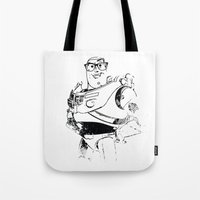 buzz lightyear Tote Bags featuring Wayfarer Buzz by High Design