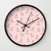 watermelon Wall Clocks featuring Watermelon by Menina Lisboa