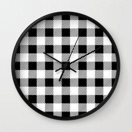 Black And White Lumberjack Pattern  Wall Clock