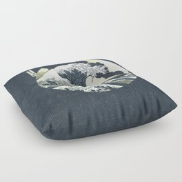 Great Wave Off Kanagawa Mt Fuji Eruption-Dark Blue Floor Pillow