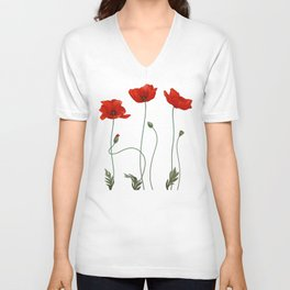Poppy Stems Unisex V-Neck