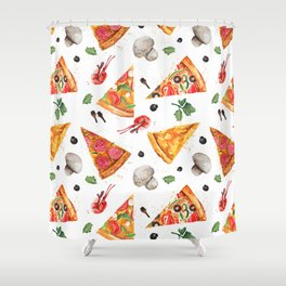 Pizza Pattern, Food Pattern, Watercolor Pizza Shower Curtain