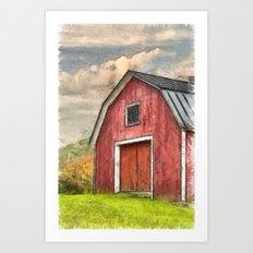 New England Red Barn Pencil Art Print