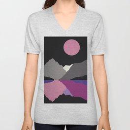 Moonlight On Lake Tanya Unisex V-Neck