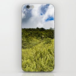 Beautiful Blue Sky Filled with Clouds of the Fern Covered Side of Mombacho Volcano, Nicaragua iPhone Skin