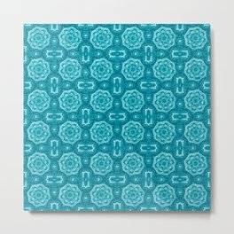 Turquoise Doily Floral Metal Print