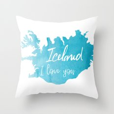 Iceland I love you - ice version Throw Pillow