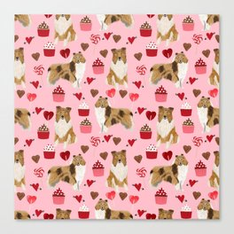 Rough Collie valentines day love cupcakes pattern dog breeds pet portraits for dog lover Canvas Print
