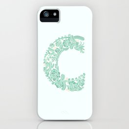 Floral Type - Letter C - Seafoam iPhone Case