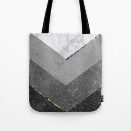 Marble Gray Copper Black Gold Chevron Tote Bag