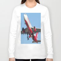 airplanes Long Sleeve T-shirts featuring Air Berlin Airbus A330-223 Take-off Miami airplanes USA D-ALPJ by Yan David