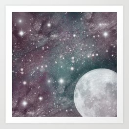 Cosmic Blue and Purple Sky with Moon  Art Print