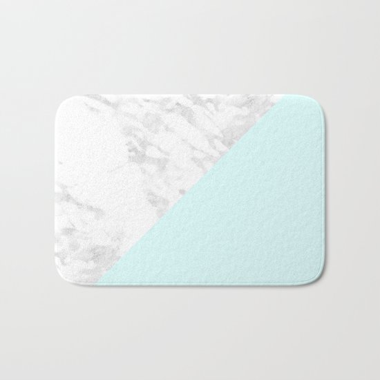 White Marble with Pastel Blue and Grey Bath Mat
