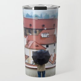 Man with Black Umbrella Travel Mug